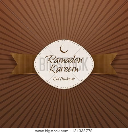 Ramadan Kareem Eid Mubarak festive Banner with Ribbon. Islam Holiday Background Template. Vector Illustration