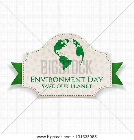World Environment Day awareness Badge and Ribbon. Ecology Background Template. Vector Illustration.