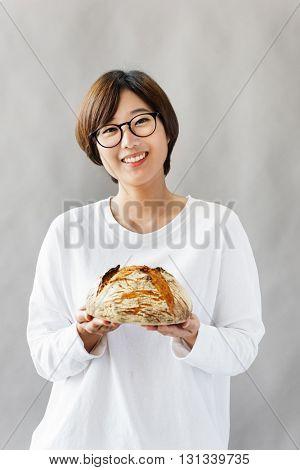 Asian Girl Bread Relaxation Concept