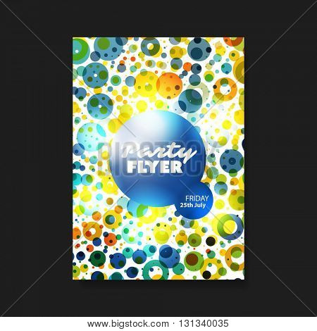 Party Flyer or Cover Design with Colorful Dotted Pattern