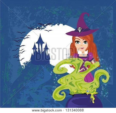 Halloween young witch preparing potion , vector illustration