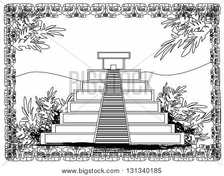 Mayan Pyramid Chichen-Itza Mexico , doodle illustration