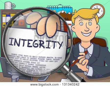 Integrity. Man in Office Workplace Showing through Magnifier Concept on Paper. Colored Doodle Illustration.