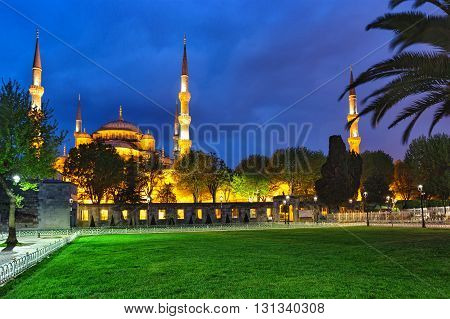 Sultanahmet Mosque with lawn at night. Istanbul, Turkey.