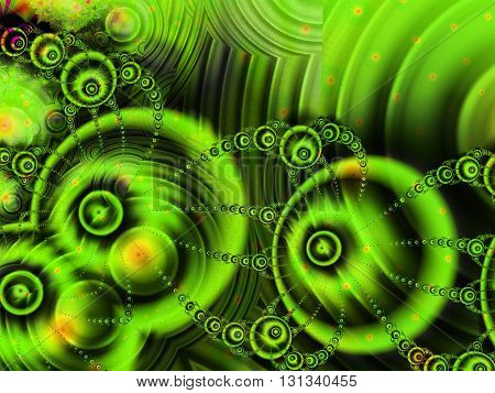 Fractal image of green orbs and spirals creating a futuristic landscape