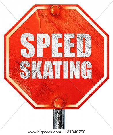 speed skating, 3D rendering, a red stop sign