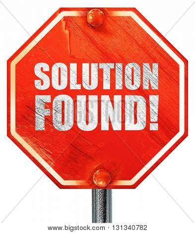 solution found!, 3D rendering, a red stop sign