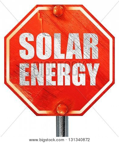 solar energy, 3D rendering, a red stop sign