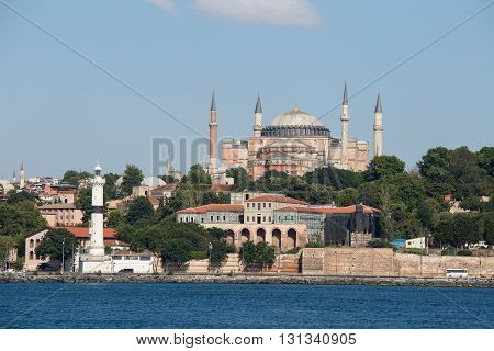 ISTANBUL TURKEY - JULY 18 2015 : Hagia Sophia and architecture Istanbul view from Bosphorus strait. Turkey