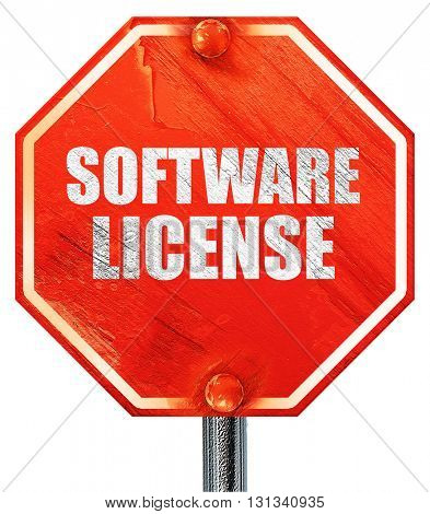 software license, 3D rendering, a red stop sign