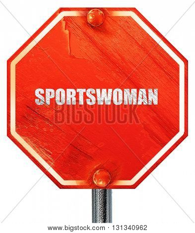 sportswoman, 3D rendering, a red stop sign