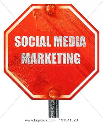 social meda marketing, 3D rendering, a red stop sign