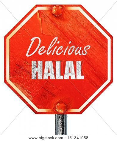Delicious halal food, 3D rendering, a red stop sign