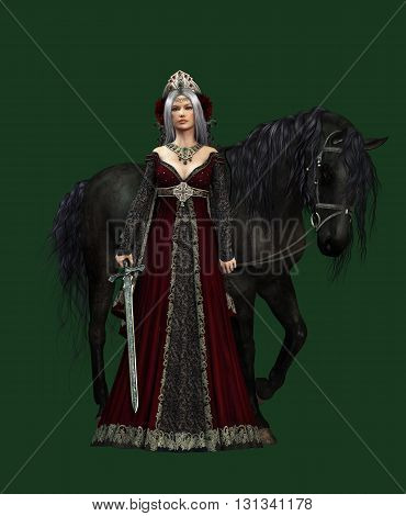 3d computer graphics of a young woman with medieval dress and a black horse