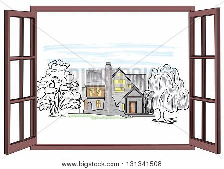 open window with a view of a country house in the trees