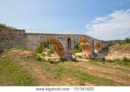 Old roman bridge Julien pont in Provence France