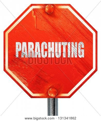 parachuting sign background, 3D rendering, a red stop sign