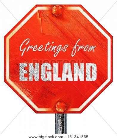 Greetings from england, 3D rendering, a red stop sign