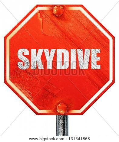 skydive sign background, 3D rendering, a red stop sign