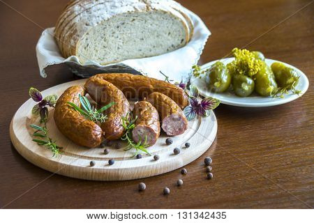 Tasty sausage seasoned with aromatic herbs and pickles