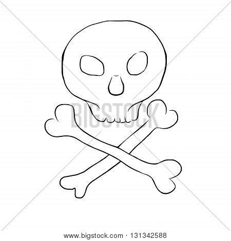 Skull and bones vector ink drawing. Hand-drawn line art