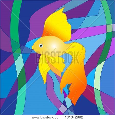 A beautiful Golden fish on a sea abstract background in the form of a colorful mosaic