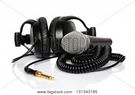 Headphone and microphone isolated on white background