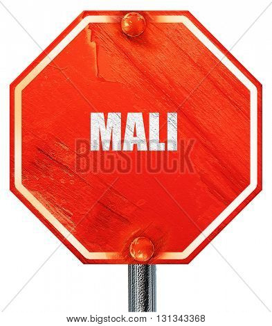 Mali, 3D rendering, a red stop sign