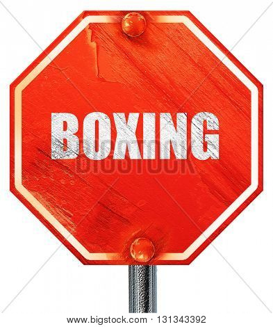 boxing sign background, 3D rendering, a red stop sign