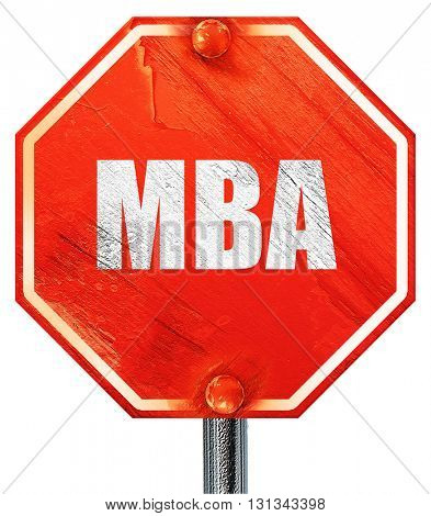 mba, 3D rendering, a red stop sign