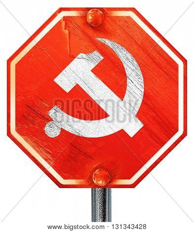 Communist sign with red and yellow colors, 3D rendering, a red s