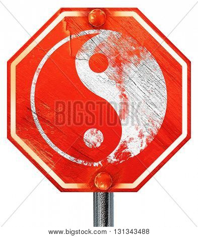 Ying yang symbol, 3D rendering, a red stop sign