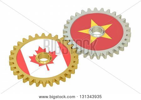 Canada and Vietnam flags on a gears 3D rendering isolated on white background