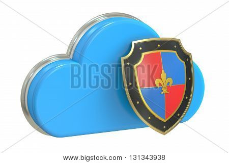 Cloud security 3D rendering isolated on white background