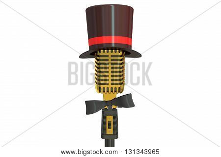 golden microphone with cylinder hat and bow tie 3D rendering