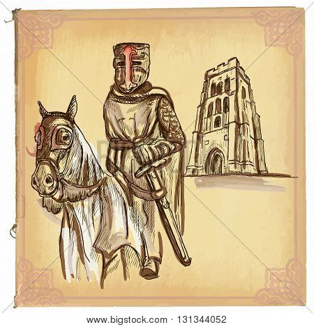 An hand drawn vector illustration colored line art. KNIGHT on horse. Freehand sketch of an medieval hero. Knight in the forefront of old English abbey. Hand drawn vector is editable in groups.