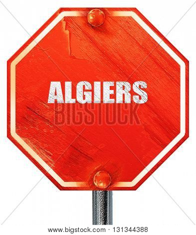 algiers, 3D rendering, a red stop sign