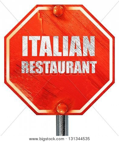 Delicious italian cuisine, 3D rendering, a red stop sign