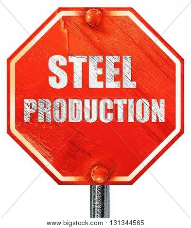 Steel background with smooth lines, 3D rendering, a red stop sig