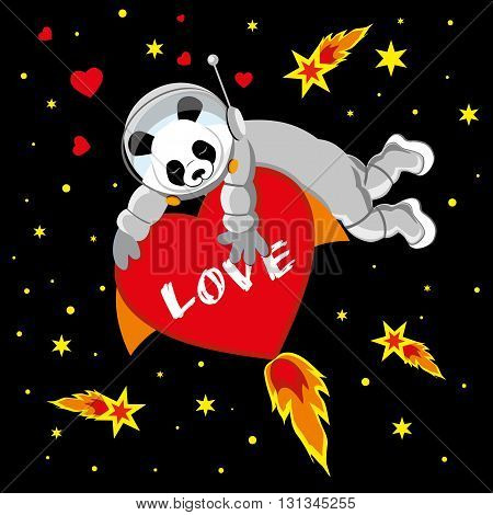 Panda is flying in space on the heart. Greetings card and wedding card. Valentines day