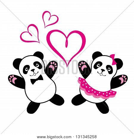 Married pandas a happy and dance. Greetings card and wedding card. Valentines day