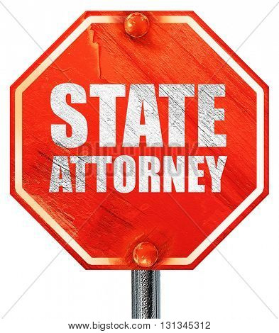 state attorney, 3D rendering, a red stop sign