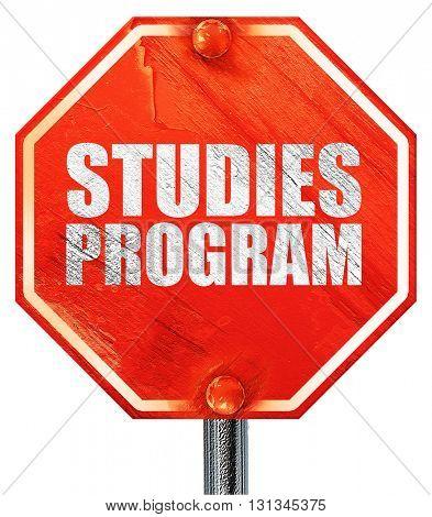 studies program, 3D rendering, a red stop sign