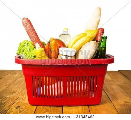 Basket from supermarket and many products therein