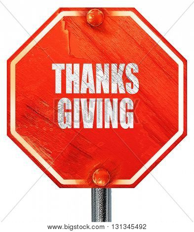 thanksgiving, 3D rendering, a red stop sign