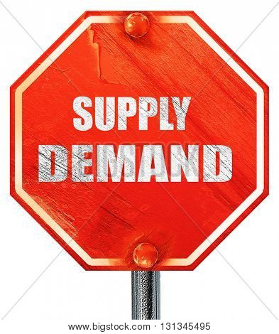 supply and demand, 3D rendering, a red stop sign