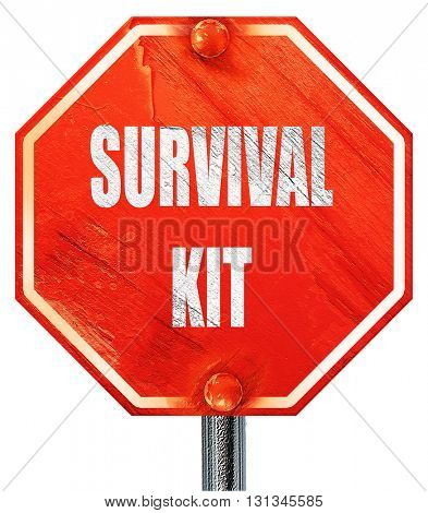 Survival kit sign, 3D rendering, a red stop sign