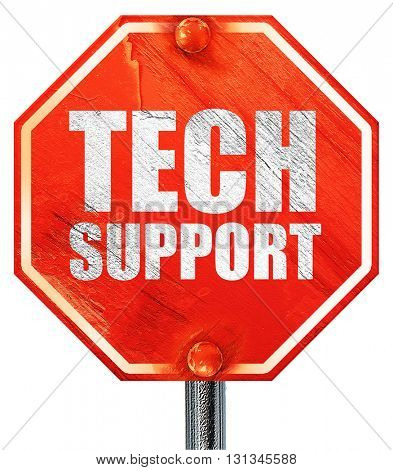 tech support, 3D rendering, a red stop sign