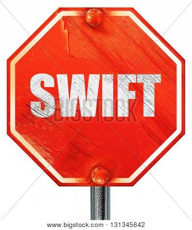 swift, 3D rendering, a red stop sign