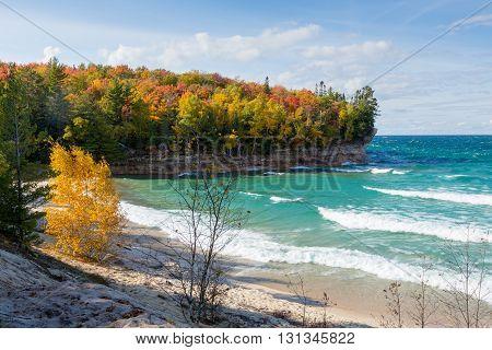 Chapel Beach at Pictured Rocks National Lakeshore along the coast of Lake Superior near Munising Michigan